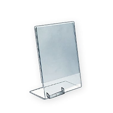 Azar® Vertical Slated L-Shaped Sign Holder With Business Card Pocket, Clear