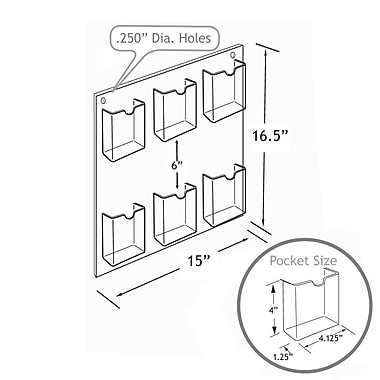 16 1/2in. x 14 1/2in. 6-Pocket Wall Mount Acrylic Brochure Holder, Clear