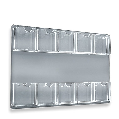 15 3/4in. x 23 3/4in. 10 Pocket Wall Mount Acrylic Brochure Holder, Clear