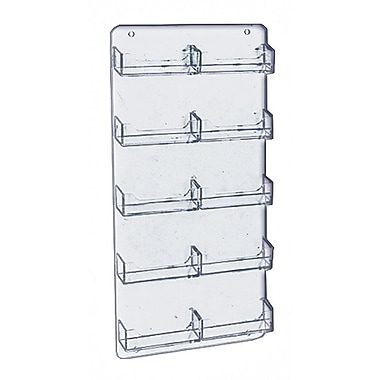 15 3/4in. x 8 1/2in. 10 Pocket Wall Mount Acrylic Business Card Holder, Clear