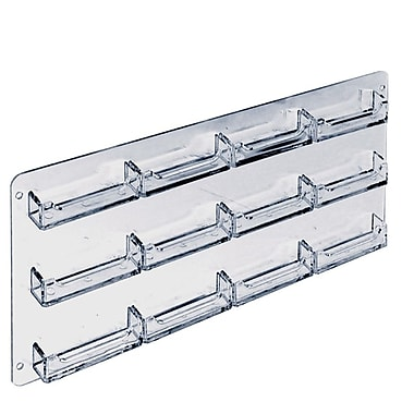 8 1/2in. x 17 1/4in. 12 Pocket Wall Mount Acrylic Business Card Holder, Clear