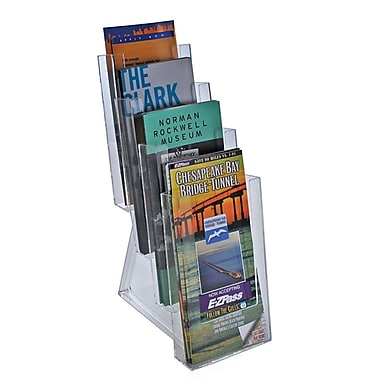 Azar Acrylic Tri-fold Size Counter Modular Brochure Holder, 13.25in. x 4.5in., 2/Pack