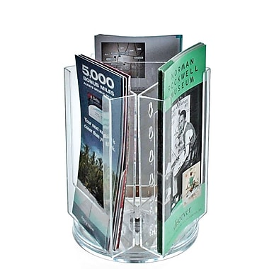 Azar Crystal Styrene Tri-fold Size Modular Brochure Holder on a Revolving Base, 3-Pocket (252316)