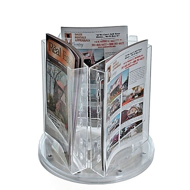 8 3/8in. x 6in. Bi-Fold 3-Pocket Revolving Modular Crystal Styrene Brochure Holder