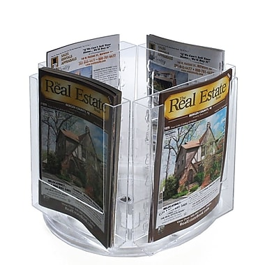 8 3/8in. x 6in. Bi-Fold 4-Pocket Revolving Modular Crystal Styrene Brochure Holder