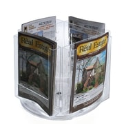 Azar Crystal Styrene Bi-fold Size Modular Brochure Holder on a Revolving Base, 4-Pocket (252319)