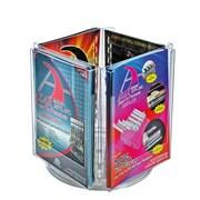 Azar Crystal Styrene Letter Size Modular Brochure Holder on a Revolving Base, 4-Pocket, 2/Pack (252321)