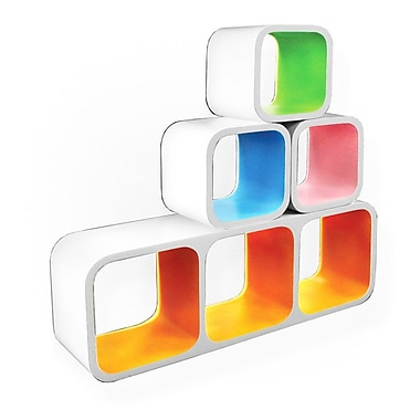 Inter-Stackable Designer Cube Shelves, 4 Piece/Set