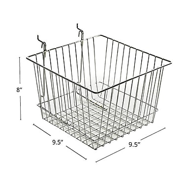 Azar Displays Wire Basket, Chrome, 8