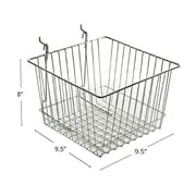 "Azar Displays Wire Basket, Chrome, 8""(H)"