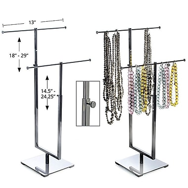 Azar® 2 Pole Necklace Display, Chrome