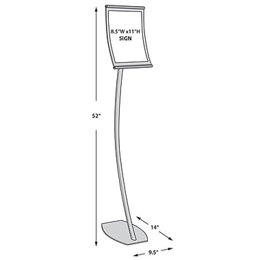 11in.(H) x 8 1/2in.(W) Curved Metal Floor Sign Holder