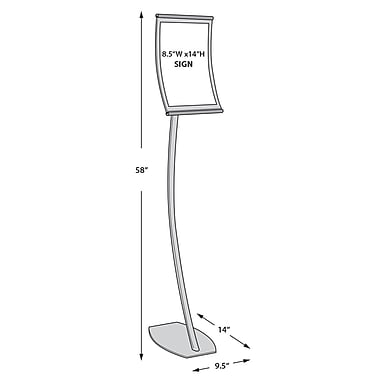 14in.(H) x 8 1/2in.(W) Curved Metal Floor Sign Holder
