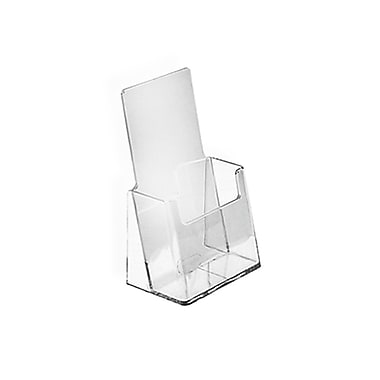 Azar® Counter Trifold Brochure Holder With Business Card Pocket, Clear, 100/Pack