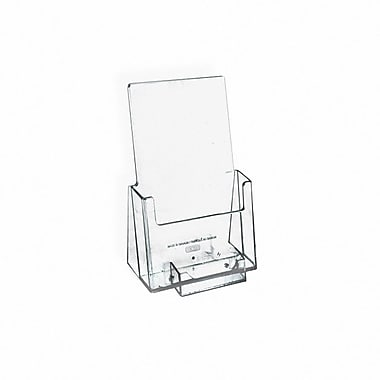 Counter Trifold Brochure Holder With Business Card Pocket, Clear, 100/Pack