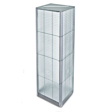 60in.(H) x 16in.(W) 4-Sided Pegboard Spinner Floor Display, Clear