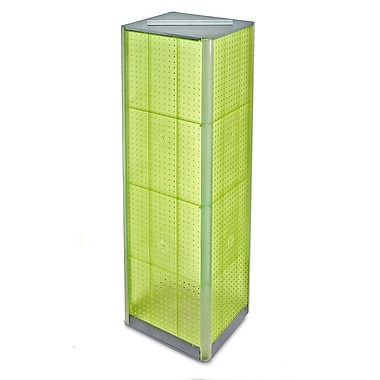 60in.(H) x 16in.(W) 4-Sided Pegboard Spinner Floor Display, Green