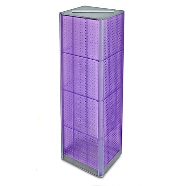 60in.(H) x 16in.(W) 4-Sided Pegboard Spinner Floor Display, Purple