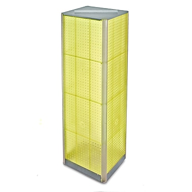 Azar Displays 60in.(H) x 16in.(W) 4-Sided Pegboard Spinner Floor Display, Yellow