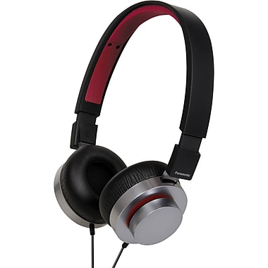 Panasonic RP-HXD5C-K Monitor Headphone, Black/Silver with Red
