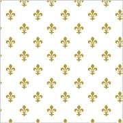 Shamrock 20 x 30 Fleur de Lis Printed Tissue Paper, White/Gold
