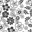 Shamrock 20in. x 30in. Retro Flowers Printed Tissue Paper, White/Black/Gray