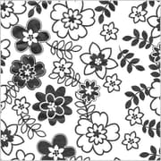 "Shamrock 20"" x 30"" Retro Flowers Printed Tissue Paper, White/Black/Gray"