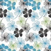 Shamrock 20 x 30 Floral Lines Printed Tissue Paper, White/Blue/Gray/Black/Green