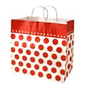 Shamrock 13in. x 7in. x 12 1/2in. Bistro 2 go Cherry Dots Shopping Bags, Red/White