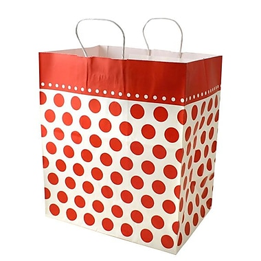 Shamrock 14in. x 9 1/2in. x 16 1/4in. Bistro 2 go Cherry Dots Shopping Bags, Red/White