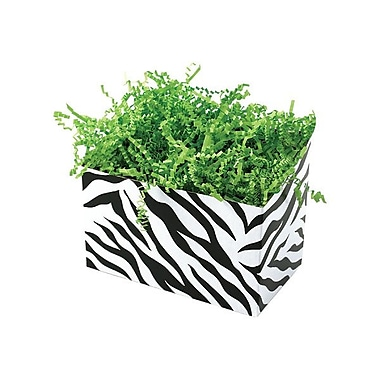 Shamrock 6 3/4in. x 4in. x 5in. Zebra Stripes Basket Box, Black on White