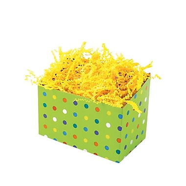 Shamrock 6 3/4in. x 4in. x 5in. Party Dots Basket Box, Green/Yellow/Red/Blue/White/Purple