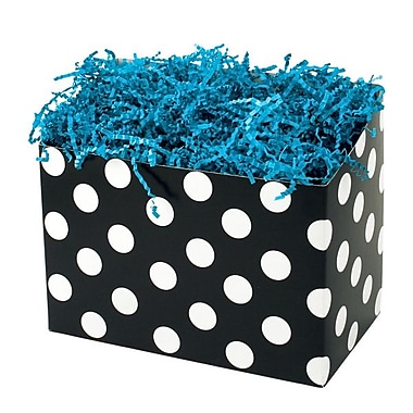 Shamrock 9in. x 5in. x 7 1/2in. Domino Dots Basket Box, White on Black