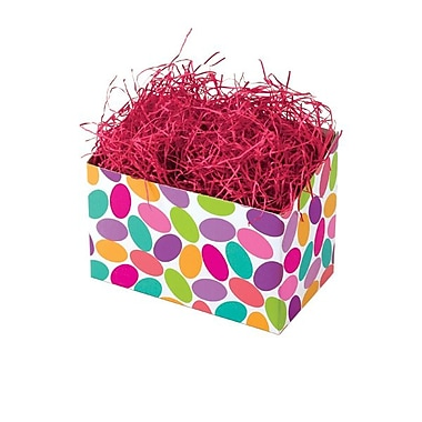 Shamrock 6 3/4in. x 4in. x 5in. Candy Confetti Basket Box, Green/Red/Blue
