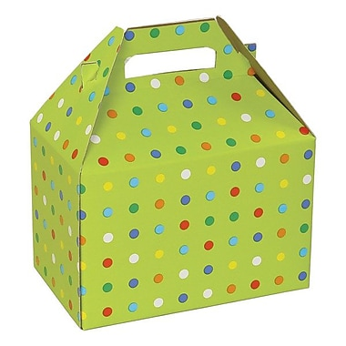Shamrock 8in. x 4 7/8in. x 5 1/4in. Party Dots Gable Box, Green/Assorted