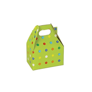 Shamrock 4in. x 2 1/2in. x 2 1/2in. Party Dots Gable Box, Green/Assorted