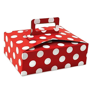 Shamrock 9in. x 7in. x 3in. Cherry Dots Bistro 2 go Stackable Deli Box, Red/White