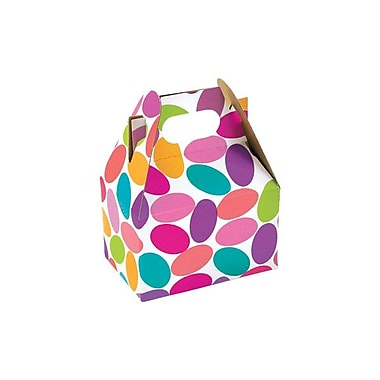 Shamrock 4in. x 2 1/2in. x 2 1/2in. Candy Confetti Gable Box, White/Purple/Red/Pink