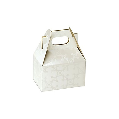 Shamrock Cardboard 2.5in.H x 2.5in.W x 4in.L Quatrefoil Mini Gable Boxes, White, 100/Carton
