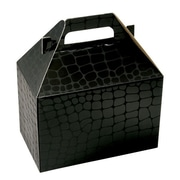 "Shamrock 8"" x 4 7/8"" x 5 1/4"" Mock Croc Gable Box, Black"