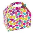 Shamrock 8in. x 4 7/8in. x 5 1/4in. Candy Confetti Gable Box, White/Purple/Red/Pink