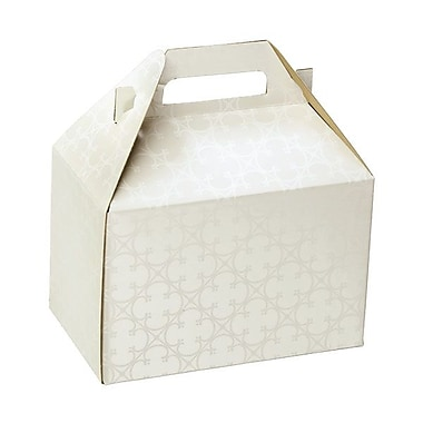 Shamrock 8in. x 4 7/8in. x 5 1/4in. Quatrefoil Gable Box, White
