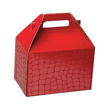 Shamrock 8in. x 4 7/8in. x 5 1/4in. Red Croc Gable Box, Red