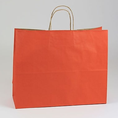 Shamrock 13in. x 16in. x 6in. Shadow Stripe Kraft Paper Jaguar Shopping Bags, Terra Cotta Orange