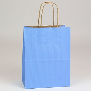 Shamrock 10 1/2in. x 8in. x 4 3/4in. Shadow Stripe Kraft Paper Chimp Shopping Bags, French Country Blue