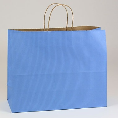 Shamrock 10 1/2in. x 8in. x 4 3/4in. Shadow Stripe Kraft Paper Jaguar Shopping Bags, French Country Blue