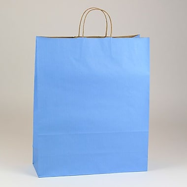 Shamrock 19 1/4in. x 16in. x 6in. Shadow Stripe Zebra Kraft Paper Shopping Bags, French Country Blue
