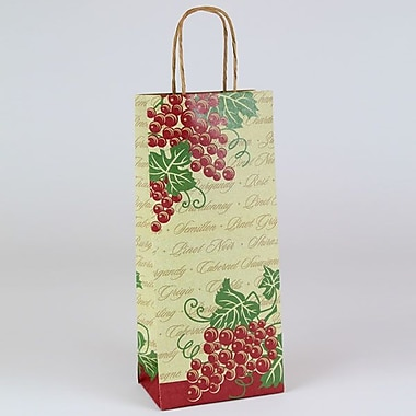 Shamrock 5 1/2in. x 3 1/4in. x 12 1/2in. Vinotopia Single Bottle Shopping Bags, Natural Kraft Brown