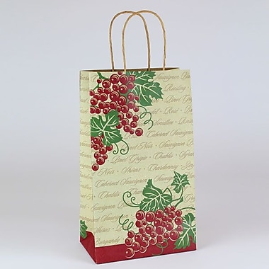 Shamrock 8in. x 4 3/4in. x 13 5/8in. Vinotopia Double Bottle Shopping Bags, Natural Kraft Brown