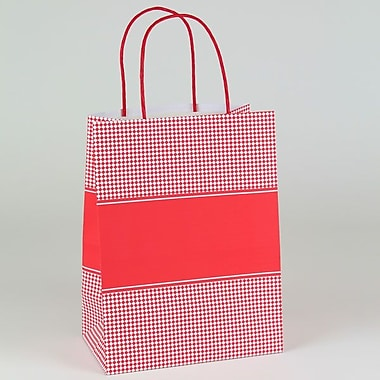 Shamrock 4 3/4in. x 8in. x 10 1/2in. Diamond Checks Small Shopping Bags, Red/White